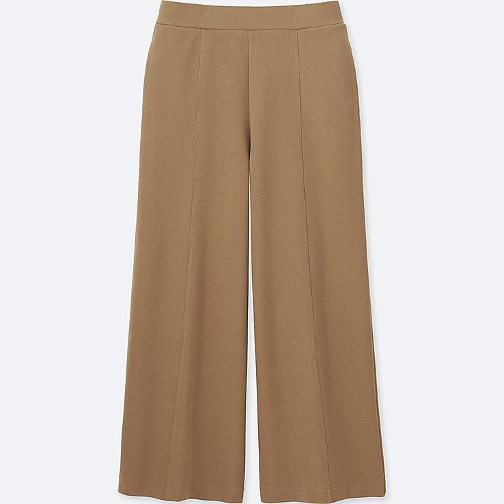 WOMEN MILANO RIBBED WIDE PANTS, BEIGE, large