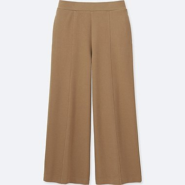 WOMEN MILANO RIBBED WIDE PANTS, BEIGE, medium
