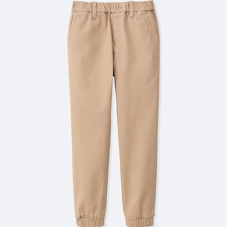 BOYS TWILL JOGGER PANTS, BEIGE, large