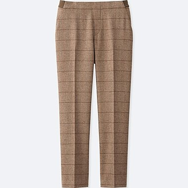 WOMEN TWEED ANKLE LENGTH PANTS, BEIGE, medium