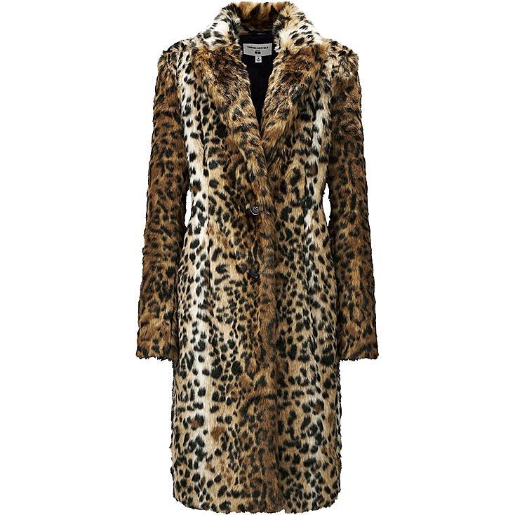 WOMEN CARINE FAUX FUR COAT, BEIGE, large