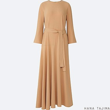 WOMEN FLARE LONG-SLEEVE LONG DRESS, BEIGE, medium