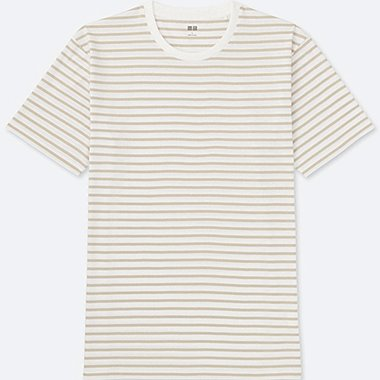 MEN WASHED STRIPED CREWNECK SHORT SLEEVE T-Shirt, BEIGE, medium