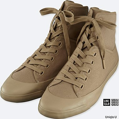 MEN U CANVAS HI-CUT SNEAKERS, BEIGE, medium
