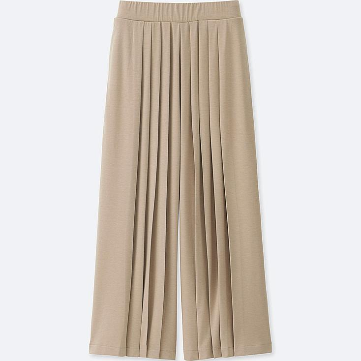 WOMEN TUCK FLARE WIDE PANTS, BEIGE, large