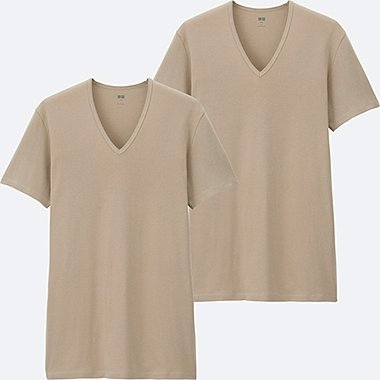 MEN SUPIMA® COTTON RIBBED T-SHIRT (SHORT SLEEVE) 2P, BEIGE, medium