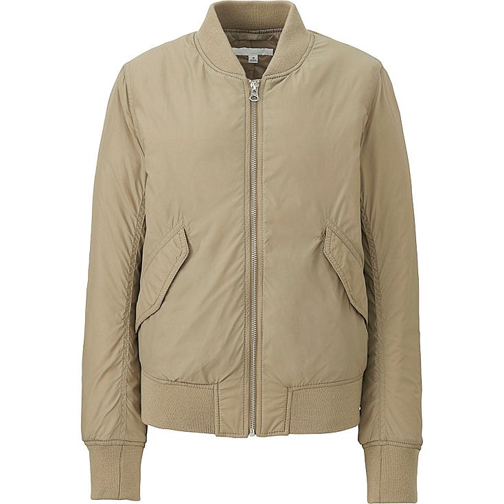 WOMEN MA-1 BOMBER JACKET, BEIGE, large