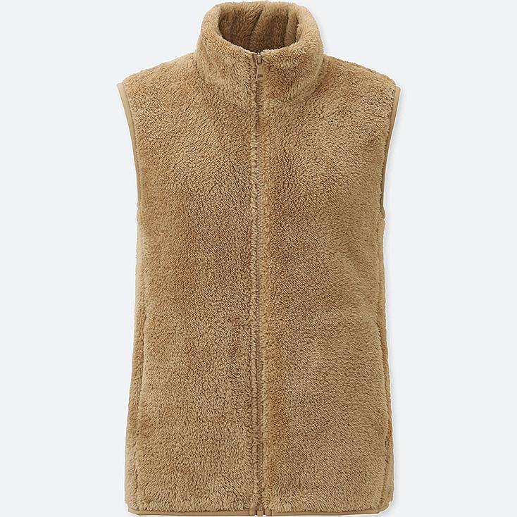 Women Fluffy Yarn Fleece Vest, BEIGE, large