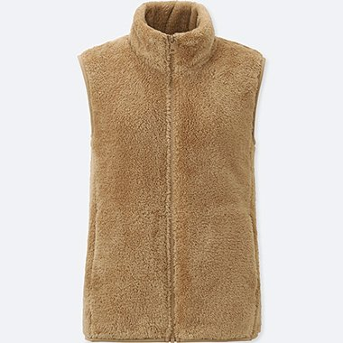 Women Fluffy Yarn Fleece Vest, BEIGE, medium