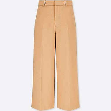 WOMEN WOOL-BLEND WIDE-LEG ANKLE PANTS, BEIGE, medium