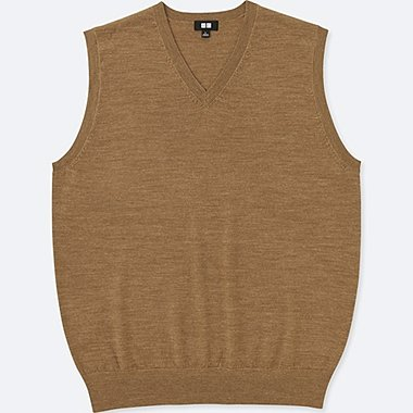 MEN EXTRA FINE MERINO V NECK VEST