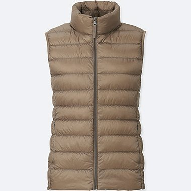 Women Ultra Light Down Vest, BEIGE, medium