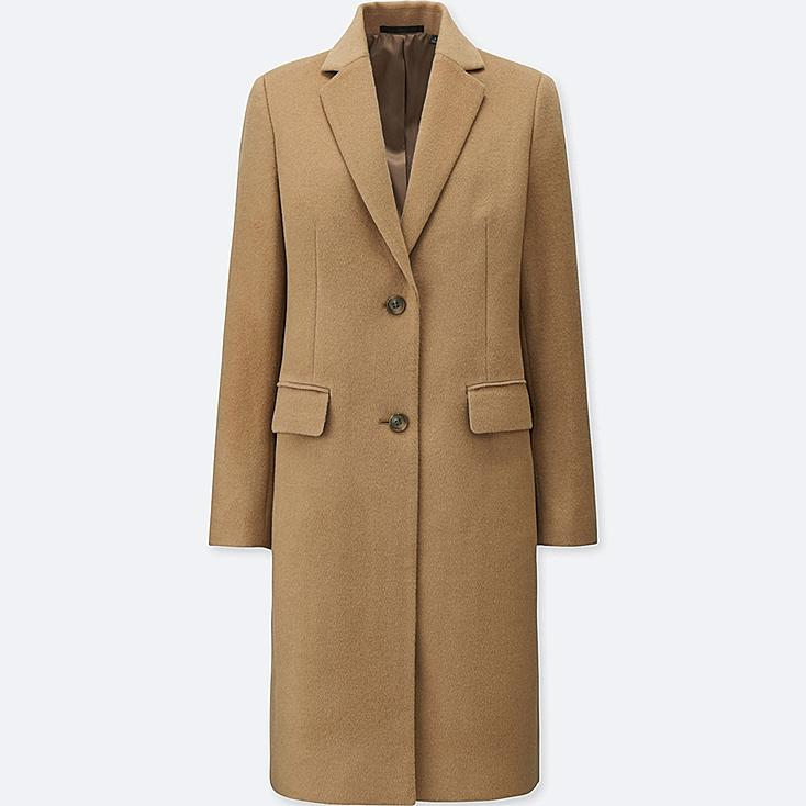 WOMEN WOOL CASHMERE CHESTER COAT, BEIGE, large