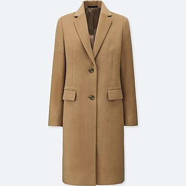 WOMEN WOOL CASHMERE CHESTER COAT, BEIGE, medium