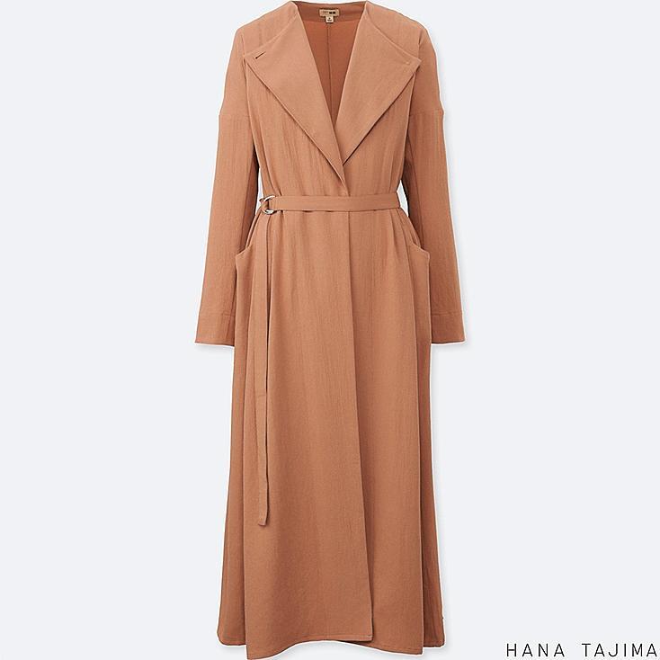 WOMEN BELTED LONG COAT, BEIGE, large