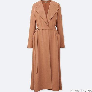 WOMEN BELTED LONG COAT, BEIGE, medium