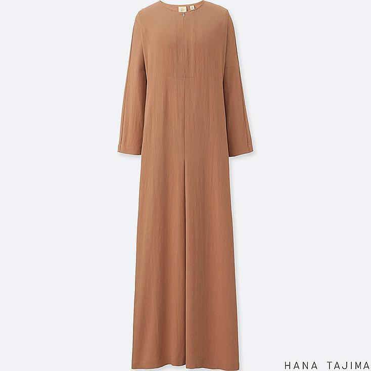 WOMEN RAYON LONG-SLEEVE LONG DRESS, BEIGE, large