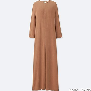 WOMEN RAYON LONG-SLEEVE LONG DRESS, BEIGE, medium