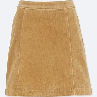 WOMEN HIGH WAIST CORDUROY MINI SKIRT