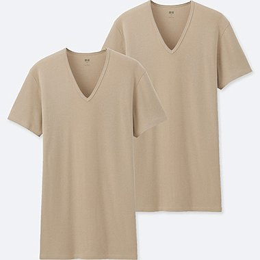 MEN SUPIMA COTTON SHORT-SLEEVE T-SHIRT (SET OF 2), BEIGE, medium