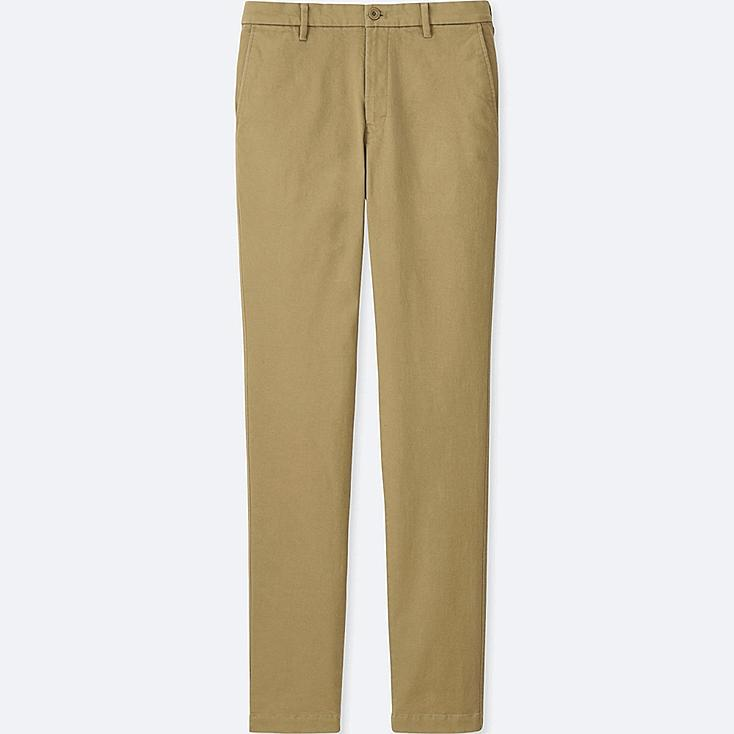 MEN ULTRA STRETCH SKINNY CHINO FLAT-FRONT PANTS, BEIGE, large
