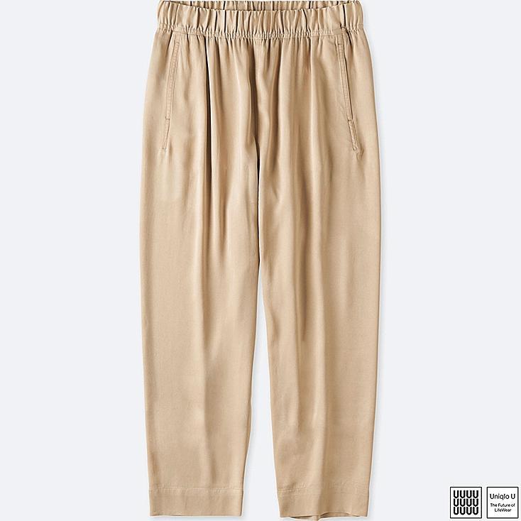 WOMEN U SATIN EASY PANTS, BEIGE, large