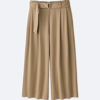 WOMEN BELTED WIDE CROPPED PANTS, BEIGE, medium