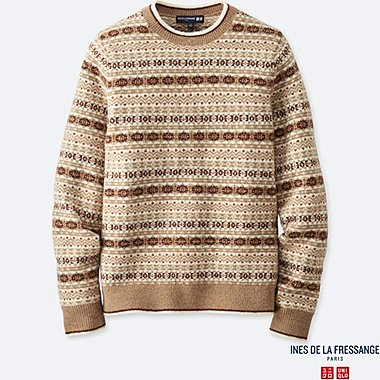 MEN INES JACQUARD CREW NECK SWEATER
