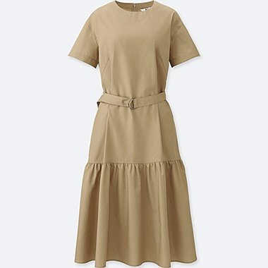 WOMEN TIERED SHORT-SLEEVE DRESS, BEIGE, medium