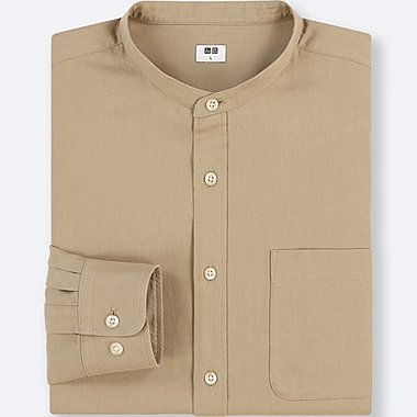 MEN SOFT TWILL STAND COLLAR LONG SLEEVE SHIRT