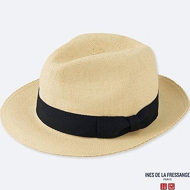 WOMEN IDLF PAPER FEDORA HAT, BEIGE, medium