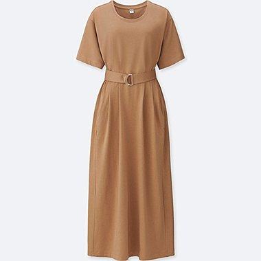 WOMEN BELTED SHORT-SLEEVE T-SHIRT DRESS, BEIGE, medium