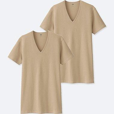 MEN SUPIMA® COTTON V-NECK SHORT-SLEEVE T-SHIRT (SET OF 2), BEIGE, medium