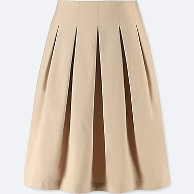 WOMEN HIGH-WAIST DRY STRETCH TUCKED SKIRT, BEIGE, medium