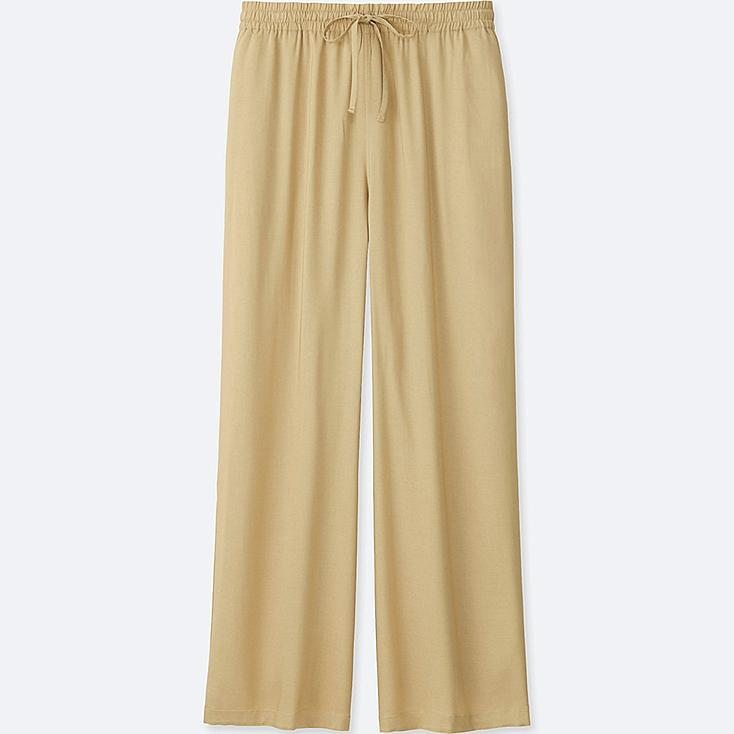 WOMEN DRAPE WIDE PANTS, BEIGE, large