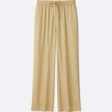 WOMEN DRAPE WIDE PANTS, BEIGE, medium