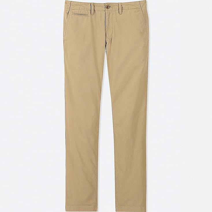 MEN VINTAGE REGULAR-FIT CHINO FLAT-FRONT PANTS, BEIGE, large