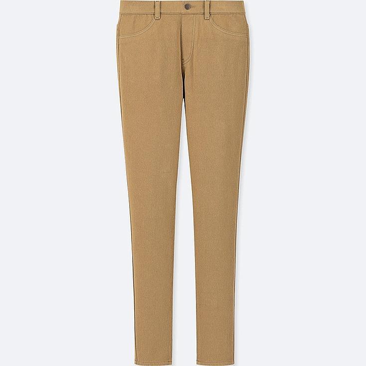 WOMEN HEATTECH LEGGINGS PANTS, BEIGE, large