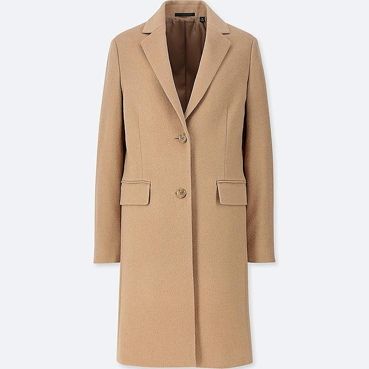 WOMEN CASHMERE BLENDED CHESTER COAT, BEIGE, large