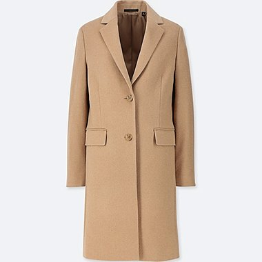 WOMEN CASHMERE BLENDED CHESTER COAT, BEIGE, medium