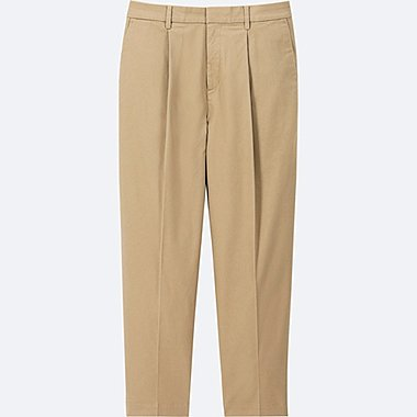 WOMEN COTTON TAPERED ANKLE-LENGTH PANTS, BEIGE, medium