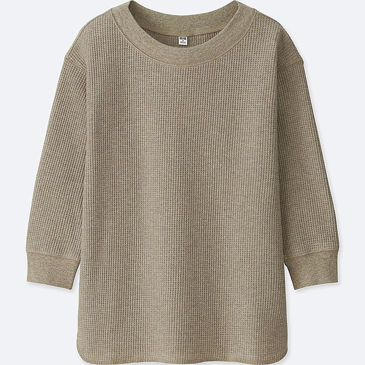 Women Waffle Crewneck 3/4 Sleeve T Shirt by Uniqlo