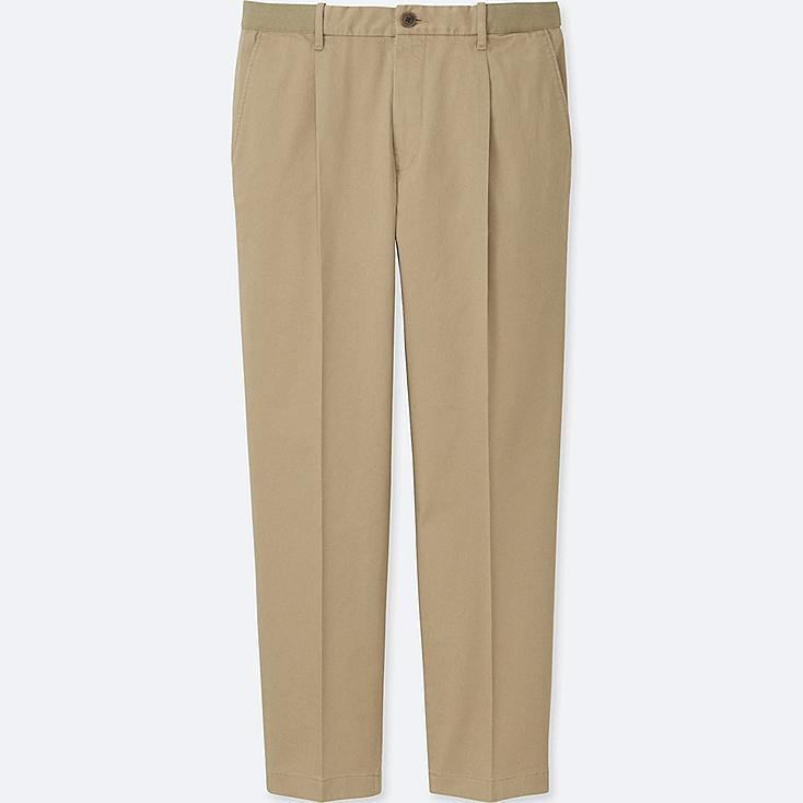 MEN RELAXED ANKLE-LENGTH PANTS (PLEATED), BEIGE, large