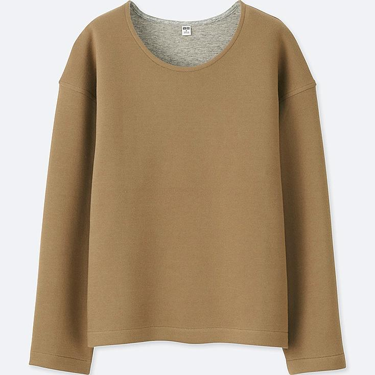 WOMEN DOUBLE FACE LONG-SLEEVE PULLOVER, BEIGE, large