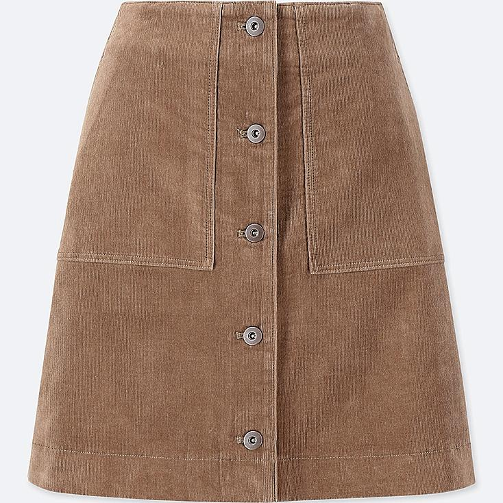 WOMEN CORDUROY FRONT BUTTON HIGH-WAIST MINI SKIRT, BEIGE, large