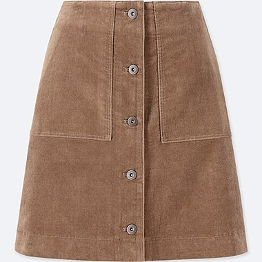 WOMEN CORDUROY HIGH WAISTED BUTTONED MINI SKIRT