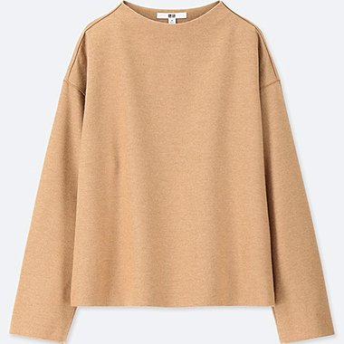 WOMEN WOOL-BLEND LONG-SLEEVE PULLOVER, BEIGE, medium
