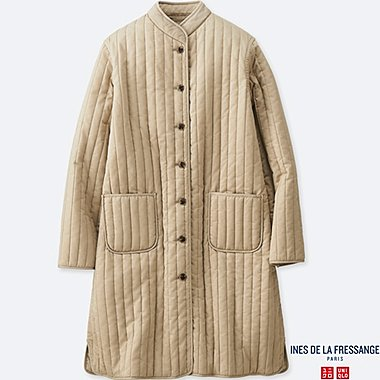 WOMEN QUILTED LONG COAT (INES DE LA FRESSANGE), BEIGE, medium