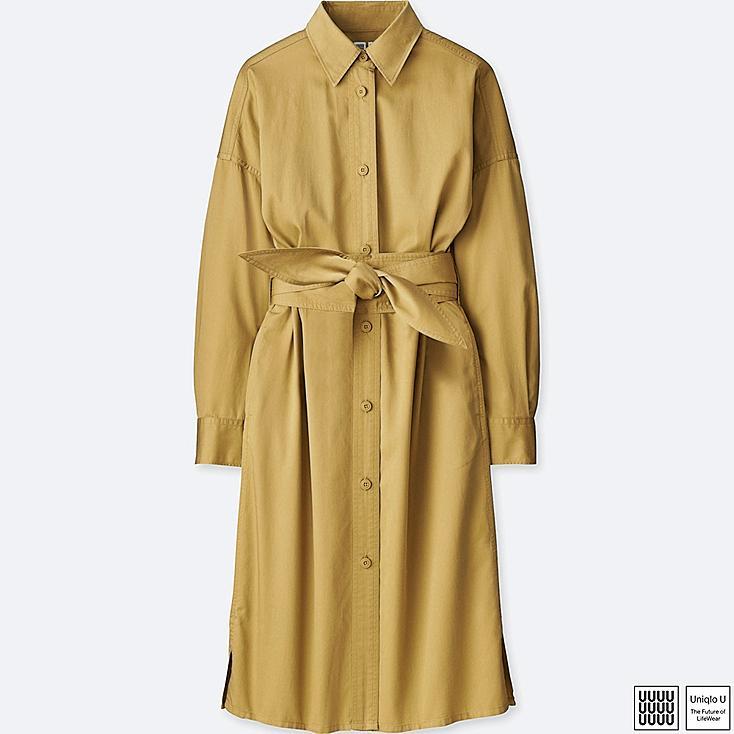 WOMEN U COTTON SATIN LONG-SLEEVE SHIRT DRESS, BEIGE, large