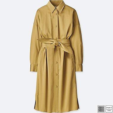 WOMEN U COTTON SATIN LONG-SLEEVE SHIRT DRESS, BEIGE, medium